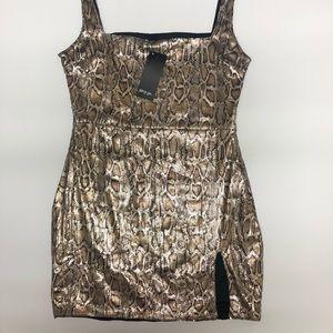 NASTY GAL Snake Skin Print Sequin Mini Dress Sz 8
